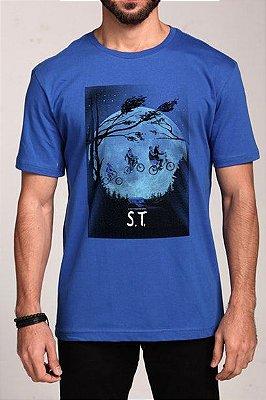Camiseta Masculina Azul Stranger Things