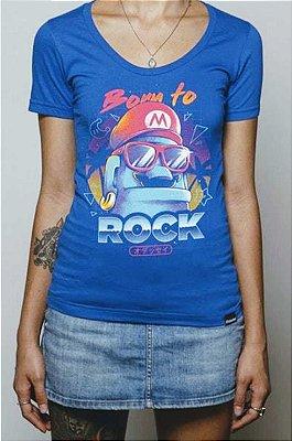 Camiseta Feminina Azul Super Mario Born To Rock