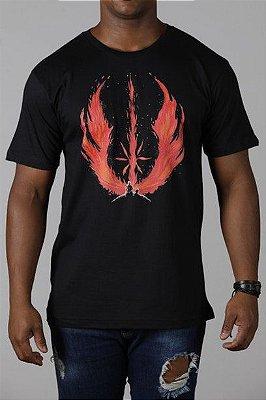 Camiseta Masculina Preta Jedi Flame