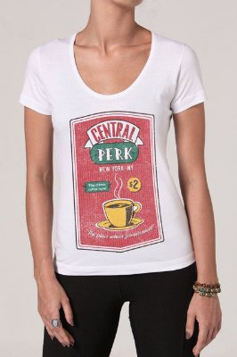 Camiseta Feminina Branca Friends Central Perk