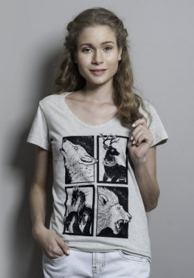 Camiseta Feminina Cinza Casas de Game Of Thrones