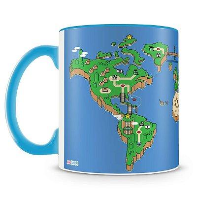 Caneca Personalizada Mapa Mundi Super Mário Bros (Azul)