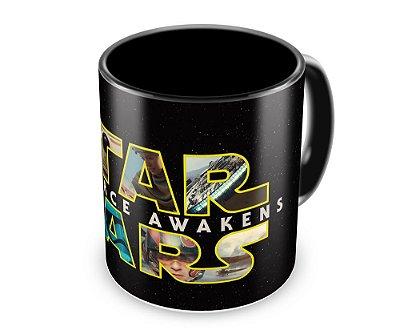 Caneca Personalizada Star Wars O Despertar da Força (100% Preta)