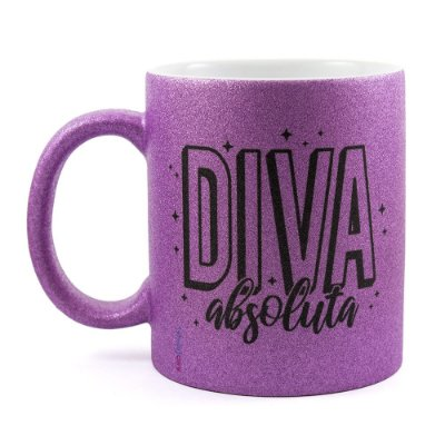 Caneca Personalizada com Glitter Diva Absoluta