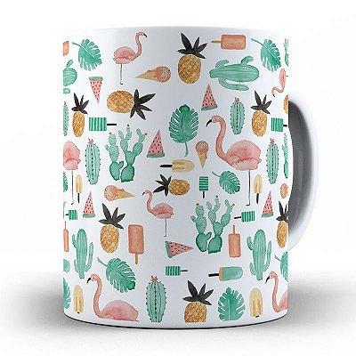 Caneca de Porcelana Personalizada Abacaxi, Cacto e Flamingo