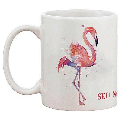 Caneca de Porcelana Personalizada Flamingo