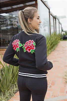 JAQUETA BOMBER MOLETOM C/ APLICAÇÃO - Preta com flores