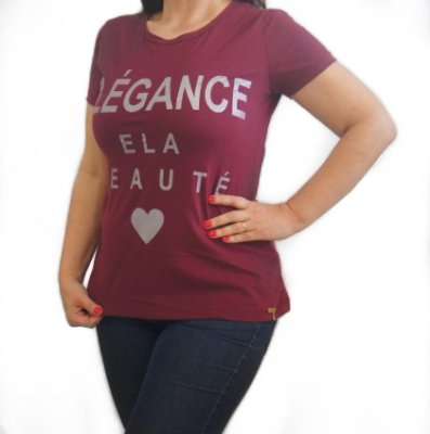 T-SHIRT ELEGANCE ELA BEAUTE - BORDO