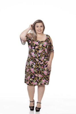 VESTIDO VISCOSE ESTAMPADO PLUS SIZE