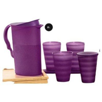 Tupperware Kit Jarra Murano 2 litros + 4 Copos Murano 500 ml com tampa