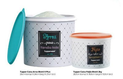 Tupperware Kit Bistrô  2 peças - Arroz 5kgs+Feijão 2kgs