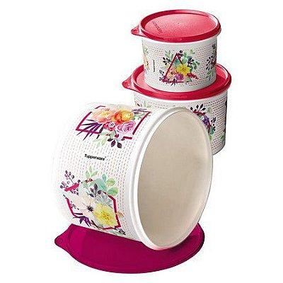 Tupperware Conjunto Caixa Verão Floral kit 3 Peças