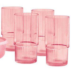 Tupperware Copo Policarbonato Rosa 410 ml cada - Kit 4 peças