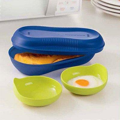 Tupperware Instant Egg Gourmet 3 peças Azul