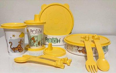 Tupperware Kit Ursinho Pooh 3 peças - Pratinho +Copo+ Talheres
