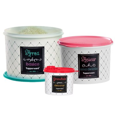 Tupperware Kit Caixas Bistrô 3 peças - Arroz-Açúcar- Granulado