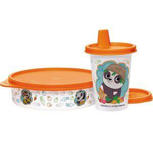 Tupperware Conjunto Pratinho + Copinho com Bico Kung Fu Panda