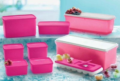 Tupperware Kit Freezer Rosa  - 9 peças
