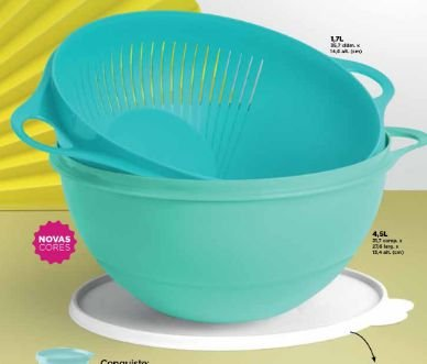 Tupperware Kit Multi Escorredor + Tigela Criativa 4,5 lts