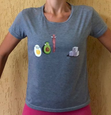 Camisa Ovo, Abacate, Bacon e Açúcar - Baby Look Cinza