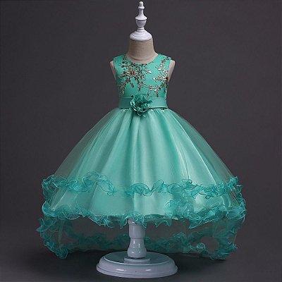 Vestido de formatura infantil verde