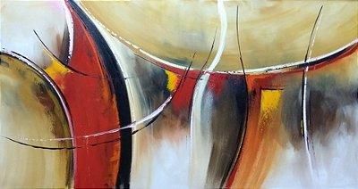 Tela Quadro Pintura Abstrato Vermelho Amarelo Com Detalhes