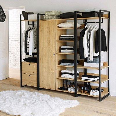 Closet /guarda-roupa aberto mdf + ferro
