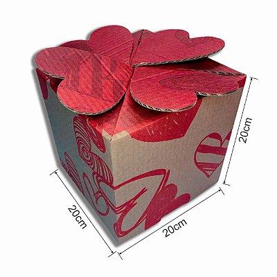 Caixa de Papelão -  Dia dos Namorados Tampa Coração 200x200x200 (KIT COM 10 UNIDADES)