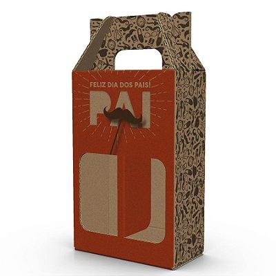 Caixa de Papelão Dia dos Pais para 2 Garrafas de Cerveja Artesanal - C:16,3 x 8,5 x L:8 x A: 24,8 cm (Kit c/ 10 unidades)