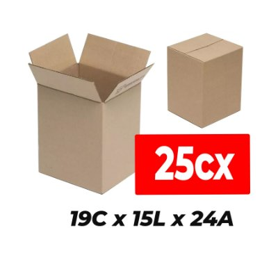 Caixa de Papelão para Sedex Correio e E-Commerce - C:19 x L:15 x A:24 cm (Kit c/ 25 unidades)