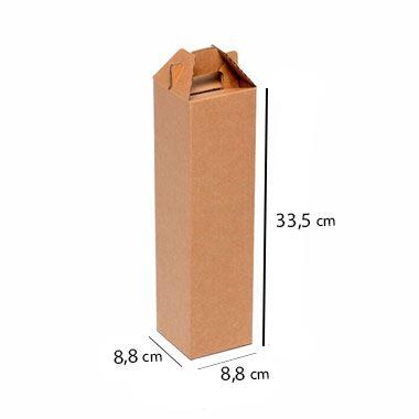 Caixa de Papelão para 1 Garrafa de Vinho e Cerveja - C:8 x L:8 x A:33 cm (Kit c/ 10 unidades)