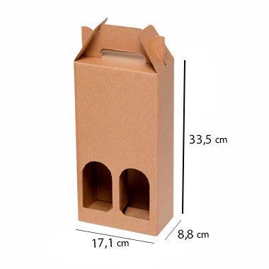 Caixa de Papelão para 2 Garrafas de Cerveja e Vinho - C:17 x L:8 x A:33 cm ( Kit c/ 10 unidades)