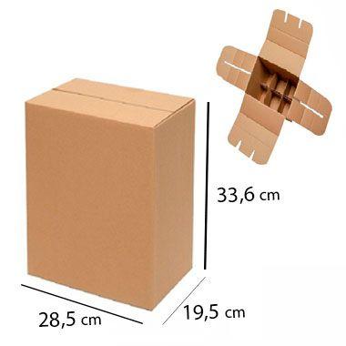 Caixa de Papelão para 6 Garrafas de Cerveja e Vinho - C:28 x L:19 x A:33 cm (Kit c/ 5 unidades)