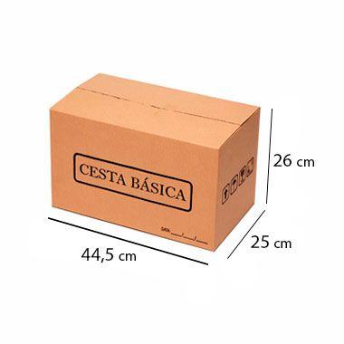Caixa de Papelão para Cesta Básica - C:44 x L:25 x A:26 cm (Kit c/ 25 unidades)
