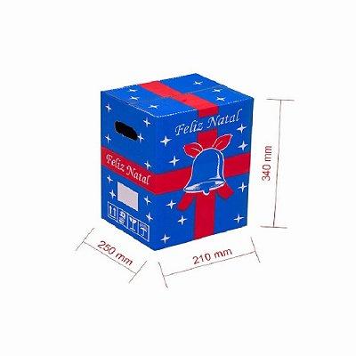 Caixa de Papelão para Cesta de Natal - Azul - C:25 x L:21 x A:34