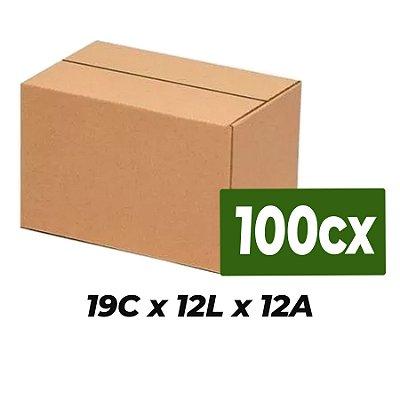 Caixa de Papelão Sedex Correio E-Commerce C:19 x L:12 x A:12 (Kit 100 Unidades)