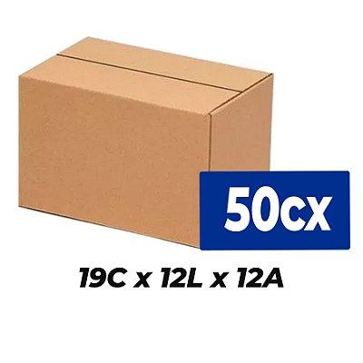 Caixa de Papelão Sedex Correio E-Commerce C:19 x L:12 x A:12 (Kit 50 Unidades)