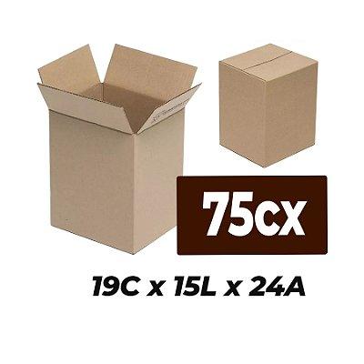 Caixa Papelão p/ Sedex Correio E-Commerce C:19 x L:15 x A:24 cm (Kit c/ 75 unidades)
