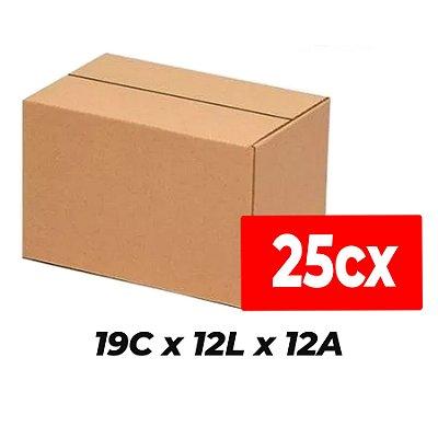 Caixa de Papelão Sedex Correio E-Commerce C:19 x L:12 x A:12 (Kit 25 Unidades)