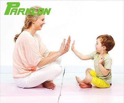 Colchonete de Atividades Parklon 3 Placas Rosa / Cinza 180cm x 80cm x 4cm
