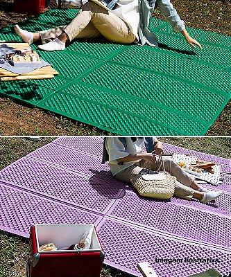 Tapete Camping Parklon Dobrável PE Roxo e Cinza 200cm x 180cm x 0,8cm