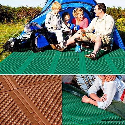 Tapete Camping Parklon Dobrável PE Verde Claro e Marrom 200cm x 180cm x 0,8cm