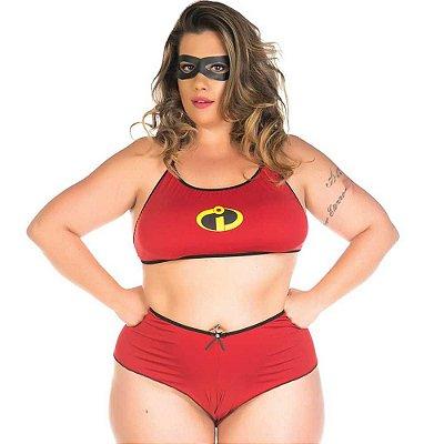 Fantasia Mulher Incrível com Máscara - Plus Size