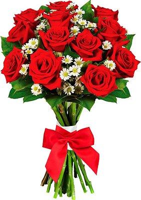 Buquê com 12 Lindas Rosas Vermelhas Artificiais