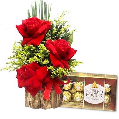 Arranjo 03 Lindas Rosas Artificiais com Chocolate