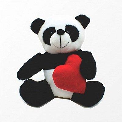 Urso Panda em Pelúcia com Coração 17 Cm