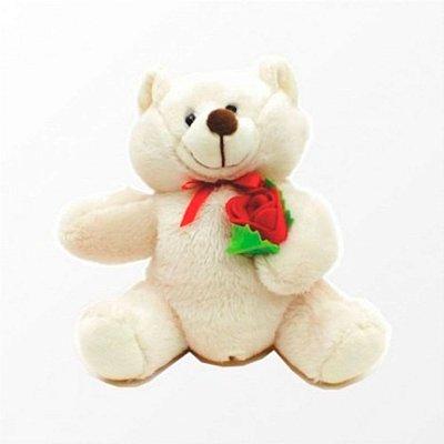 Ursinho de Pelúcia Levando uma Rosa de Presente 17 cm