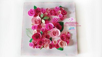 Quadro Painel 30x30 com Flores em Papel