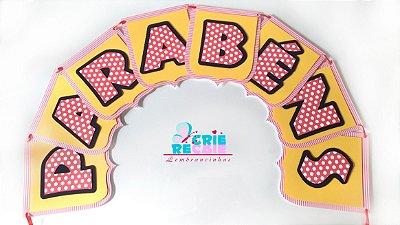 Varal Parabéns Personalizado - Bandeirola em Scrapbook