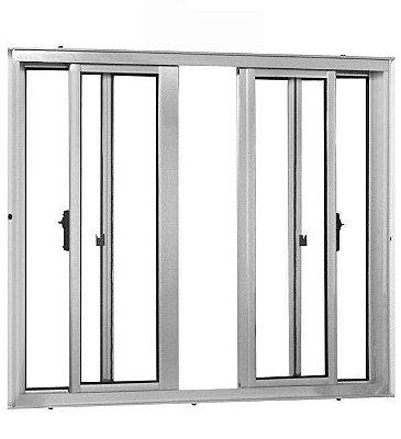Janela de Correr em Alumínio Branco 4 Folhas Vidro Liso Incolor - Linha 25 Vênus Trifel